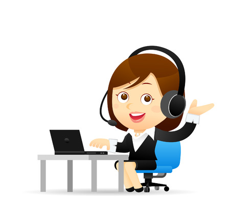 adult only: Vector illustration - Businesswoman at computer
