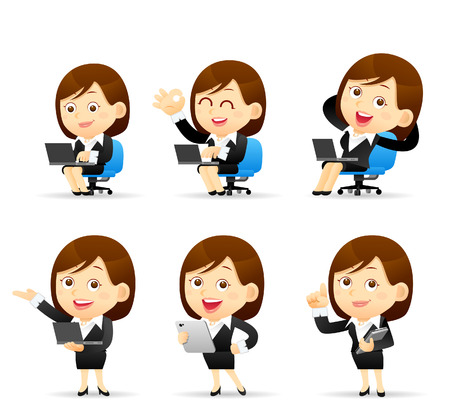vektor: Vektor-Illustration - Satz von Geschäftsfrau mit Computer Illustration