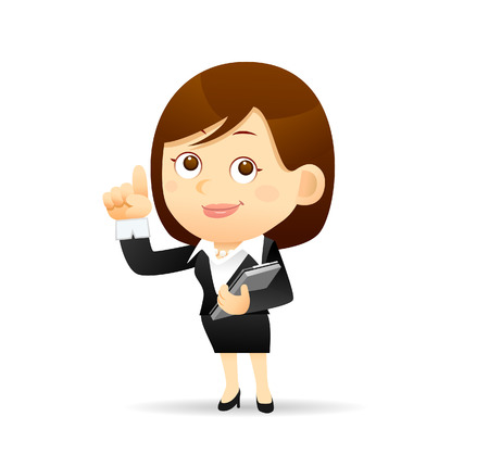 confidant: Vector illustration - Businesswoman working with computer