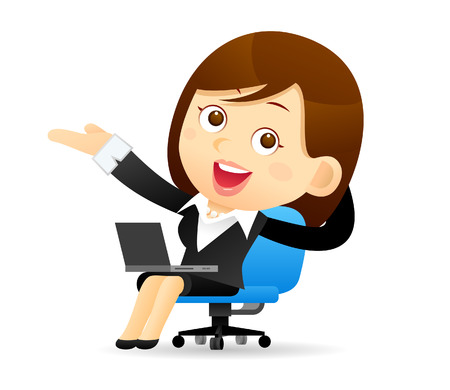 girl laptop: Vector illustration - Businesswoman working with computer