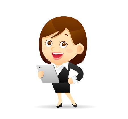 business woman tablet: Vector illustration - Businesswoman working with tablet pc