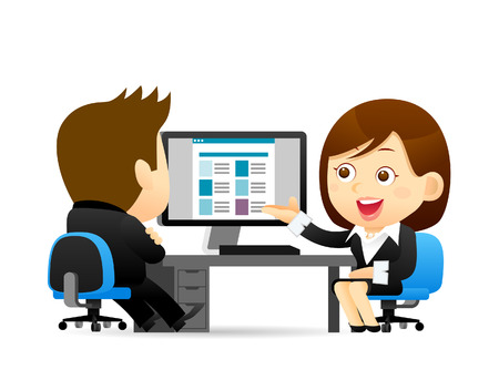discuss: Vector illustration - Buainessman and Businesswoman at computer