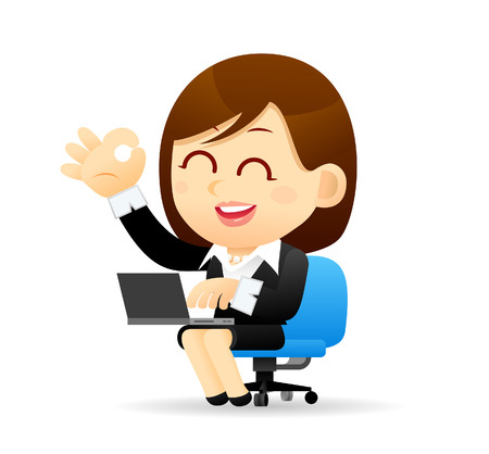 happiness or success: Vector illustration - Businesswoman working with computer