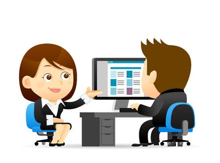 Vector illustratie - Buainessman en Zakenvrouw op de computer