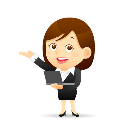grownup: Vector illustration - Businesswoman working with computer