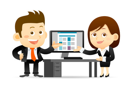 Vector illustration - Buainessman and Businesswoman at computer