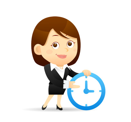 full time: Vector illustration - Cartoon businesswoman character