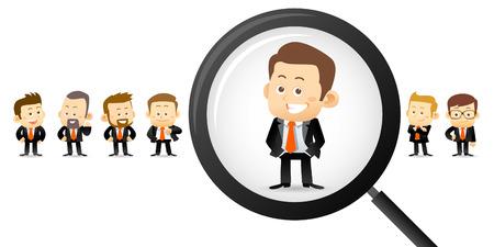 hombre caricatura: Ilustración del vector - Buscando hombre adecuado Vectores