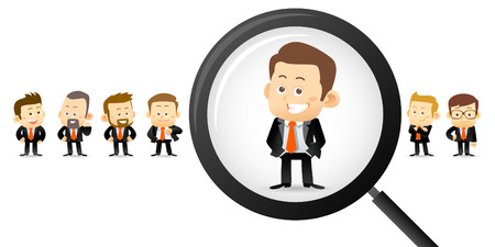 Vector illustration - Searching right man Stock Illustratie