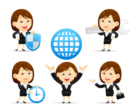 cartoon clock: Vector illustration - Cartoon businesswoman character