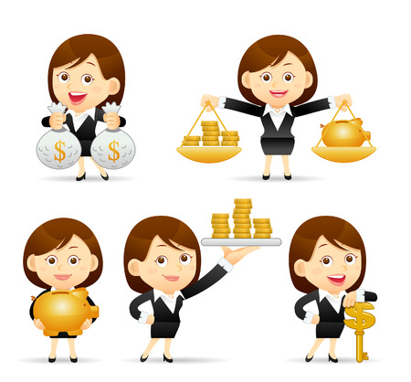 success key: Vector illustration - Cartoon businesswoman character