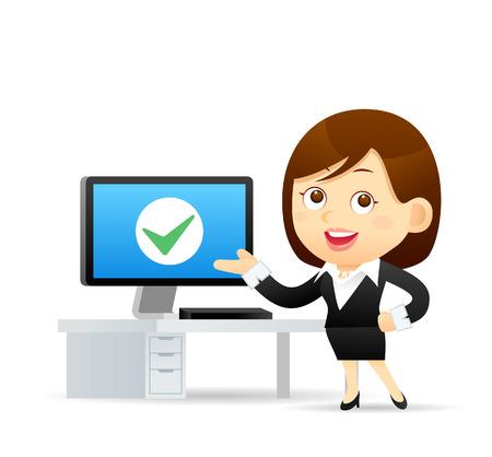 happy office: Vector illustration - Cartoon businesswoman character