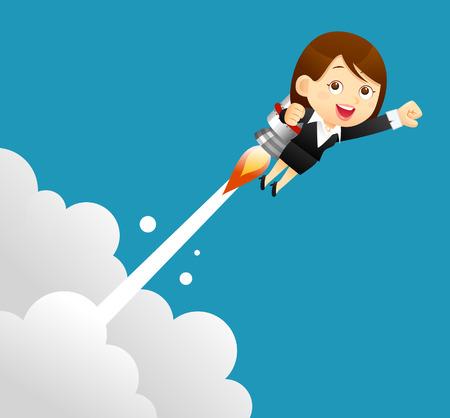 raises: Vector illustration - businesswomen with a bulb rocket.