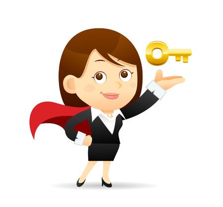 powerful man: Vector illustration - Cartoon businesswoman character