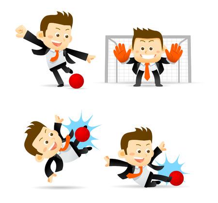 pelota caricatura: Conjunto de negocios que juega el balón de fútbol aislado en blanco