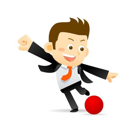 futbol soccer dibujos: Empresario jugar a la pelota de fútbol aislado en blanco Vectores
