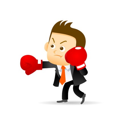 scalable: Vector illustration of businessman with boxing gloves. Easy-edit layered vector EPS10 file scalable to any size without quality loss. High resolution raster JPG file is included.