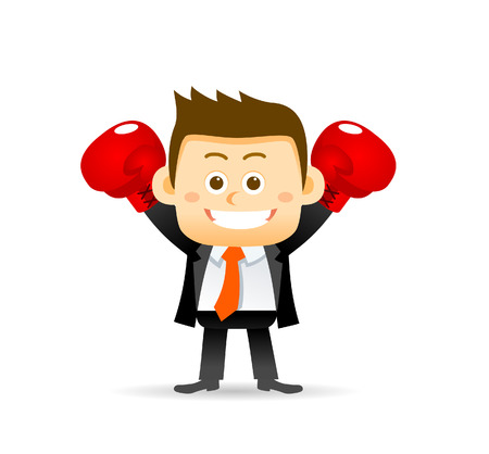any size: Vector illustration of businessman with boxing gloves. Easy-edit layered vector EPS10 file scalable to any size without quality loss. High resolution raster JPG file is included.