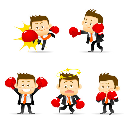 Vector illustration of businessman with boxing gloves. Easy-edit layered vector EPS10 file scalable to any size without quality loss. High resolution raster JPG file is included.