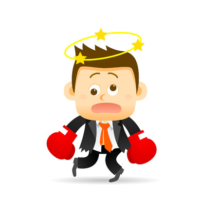 fighting: Vector illustration of businessman with boxing gloves. Easy-edit layered vector EPS10 file scalable to any size without quality loss. High resolution raster JPG file is included.