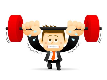 Vector illustration - concept of Businessman holding barbell