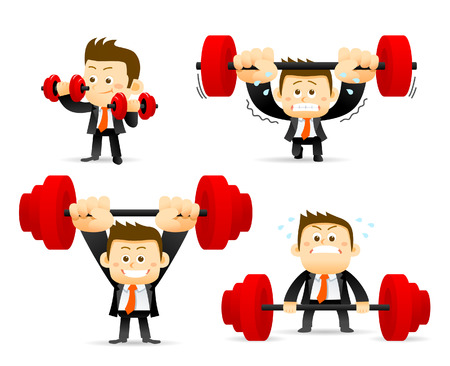 sport body: Vector illustration - concept of Businessman holding barbell