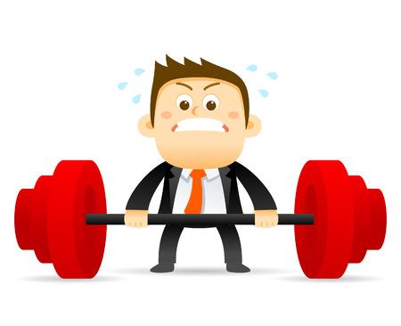 effort: Vector illustration - concept of Businessman holding barbell