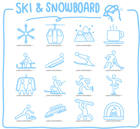 resort: Hand drawn Vector illustration - Ski Snowboarding