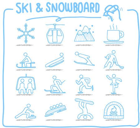 ski pass: Hand drawn Vector illustration - Ski Snowboarding