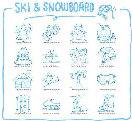 luge: Hand drawn Vector illustration - Ski Snowboarding