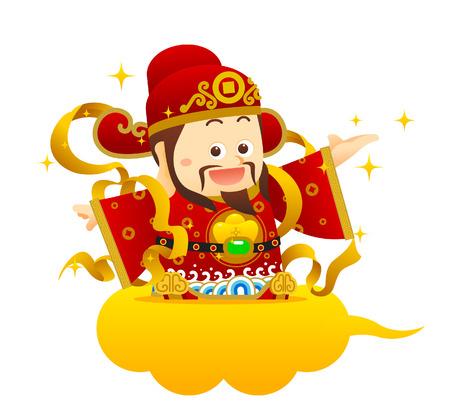 """Illustrazione vettoriale carattere cinese """"Dio della Ricchezza"""" cinese formulazione significati dollaro d'oro :. Vi auguriamo ricchezza e successo!"""