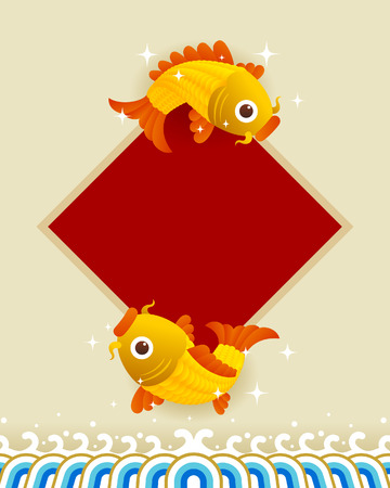 harmony idea: Happy New year. Chinese characters and the symbol of happiness in the form of fish.