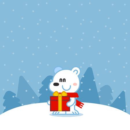 ourson: Polar ourson avec un cadeau
