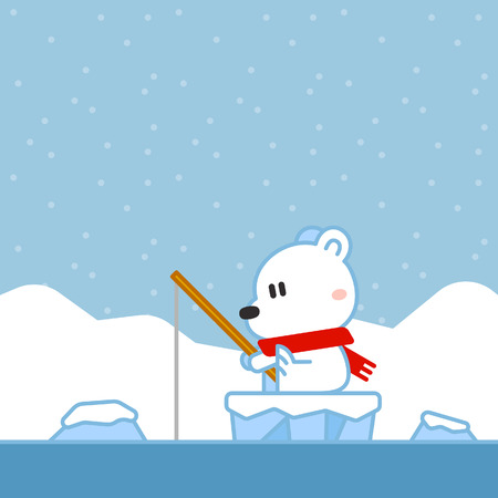 A Cartoon Christmas Design of a polar bear fishing on an ice floe with icebergs in the background