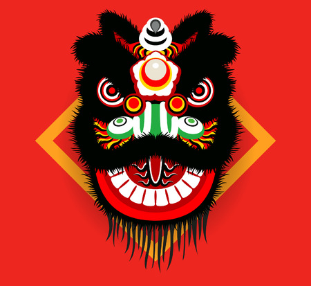 lion dance: Cartoon Chinese lion head Illustration