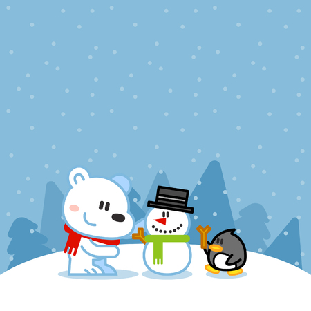 santa claus hats: Vector illustration - Polar bear, penguin playing with snowman Illustration