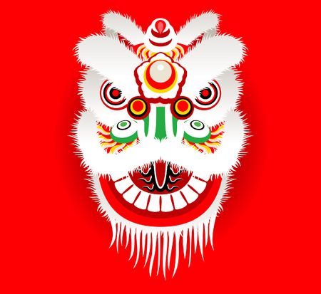 Cartoon Chinese lion head Illustration
