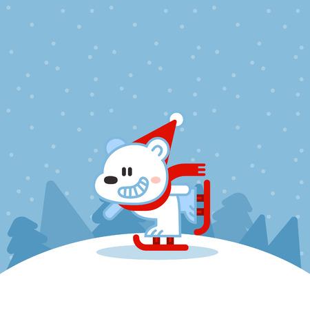 Illustration of cute polar bear on ice skates Illustration
