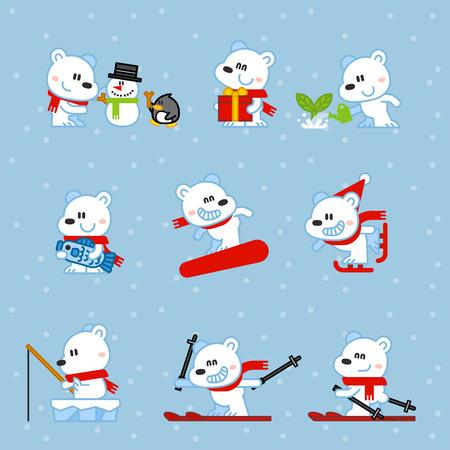 Vector illustration Polar Bear snowboarding, skiing, fishing, gift, fish, set