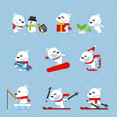 Vector illustration Polar Bear snowboarding, skiing, fishing, gift, fish, set