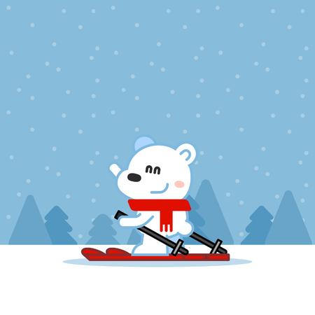 shaggy: Cute shaggy polar bear skiing Illustration