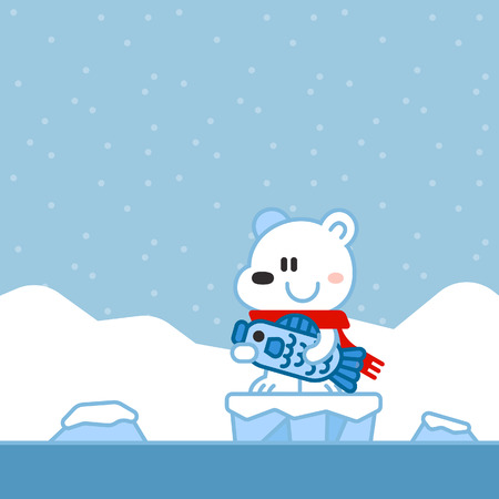 A Cartoon Christmas Design of a polar bear catching a fish on an ice floe with icebergs in the background