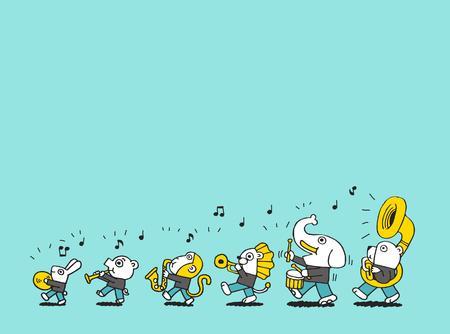 dierlijke spelen muziek Stock Illustratie