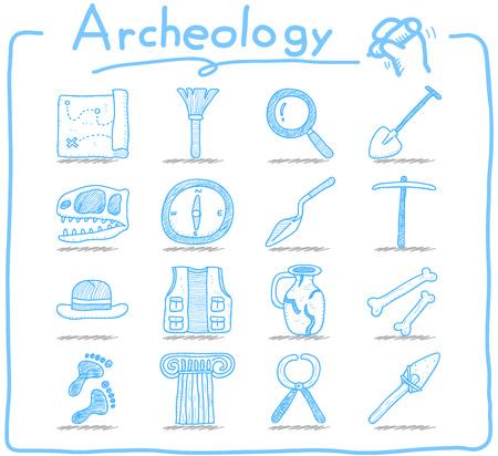 archeology: Hand drawn Archeology icon set Illustration