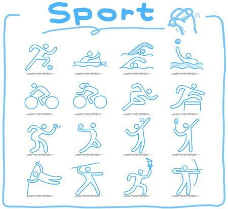icono deportes: Doodle de conjunto de iconos de deporte