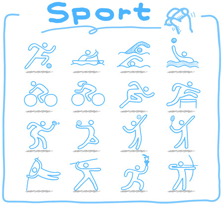 individual sport: Doodle of sport icon set