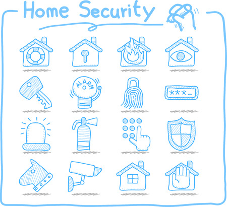 home security: Doodle Home security concept icon set