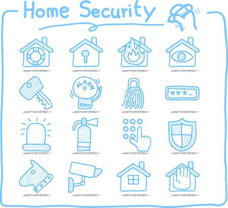 Doodle sicurezza domestica concetto di set di icone Vettoriali