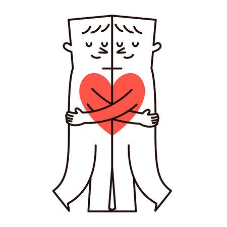 Gay couple hugging. Vector illustration Illustration