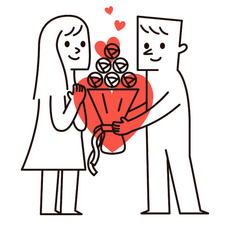 suprise: Vector Illustration -. Image of a cartoon couple Man with bouquet to woman.